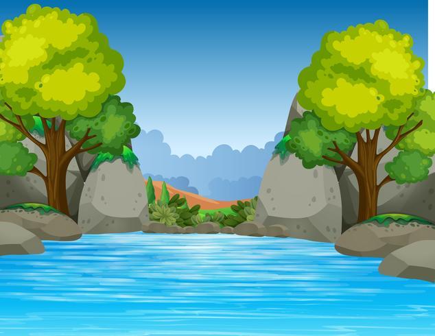 Großer Teich im schönen Tal vektor