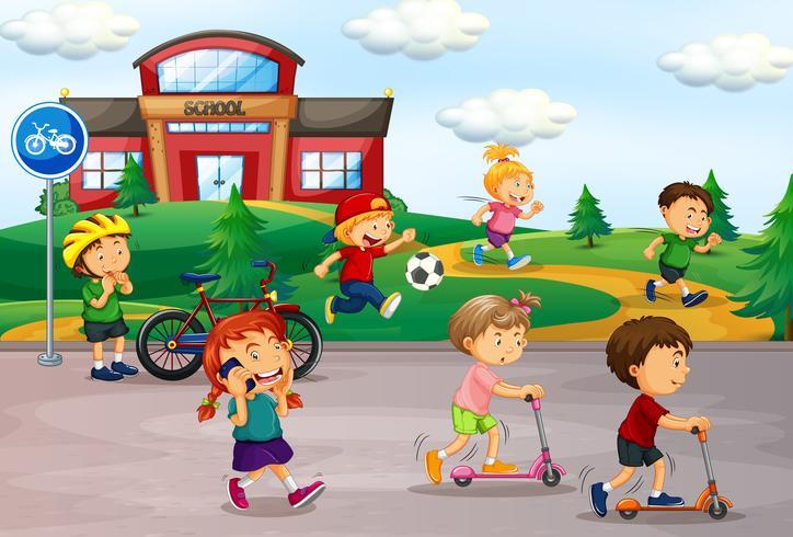 Schüler spielen auf dem Schulhof vektor