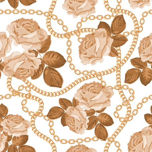 Seamless mönster bakgrund med gyllene kedjor och beige rosor. På vitt. Vektor illustration