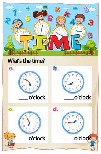Arbeitsblatt zum Erzählen der Zeit vektor