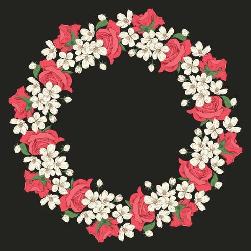 Rundes Blumenmuster auf schwarzem Hintergrund. Vektor-Illustration vektor