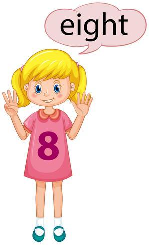 Mädchen, das Nr. Acht zeigt vektor