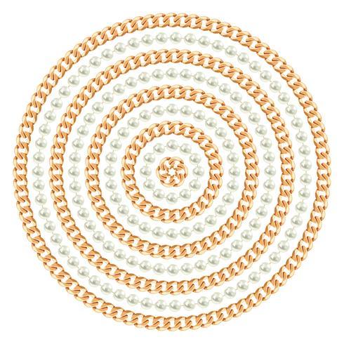 Rundes Muster mit goldenen Ketten und Perlen. Auf weiß. Vektor-Illustration vektor