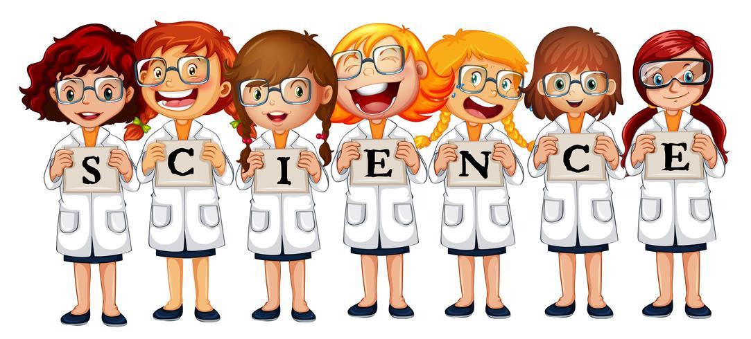 Mädchen in Wissenschaftsmänteln und Wortwissenschaft vektor