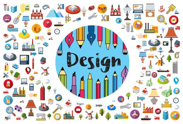 Logo av designer och konstnärborste vektor