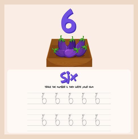 Wie schreibe ich das Arbeitsblatt Nummer sechs? vektor