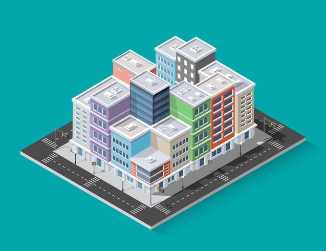 Viertel der Stadtstraßenhäuser vektor