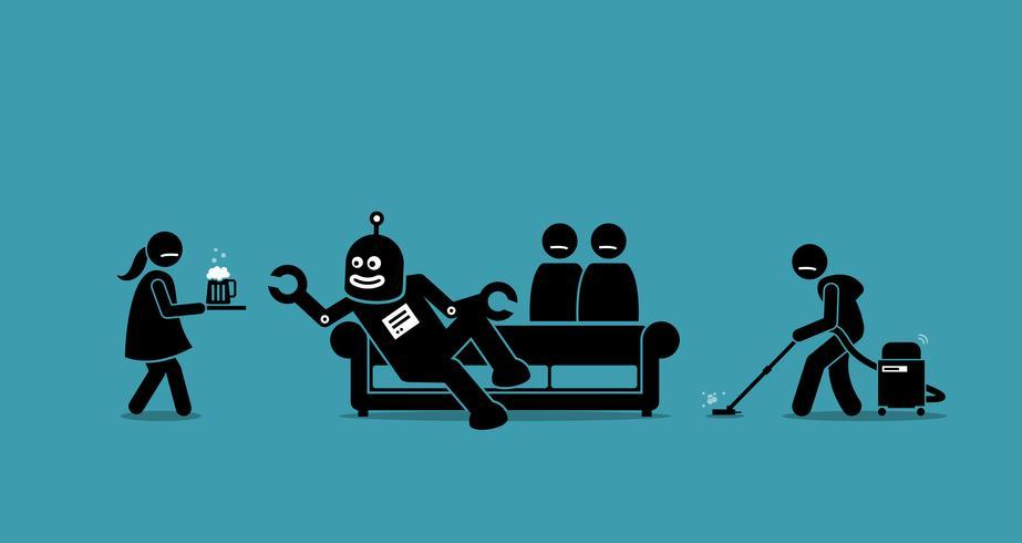 Der Mensch ist zum Diener des Roboters geworden. vektor