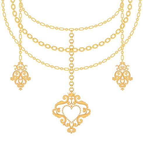 Bakgrund med kedjor guld metalliskt halsband och hänge med hjärta. På vitt vektor