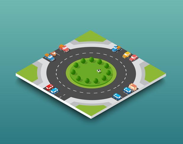 Isometrischer Autobahnverkehr der Stadt auf der Straßenstraße vektor