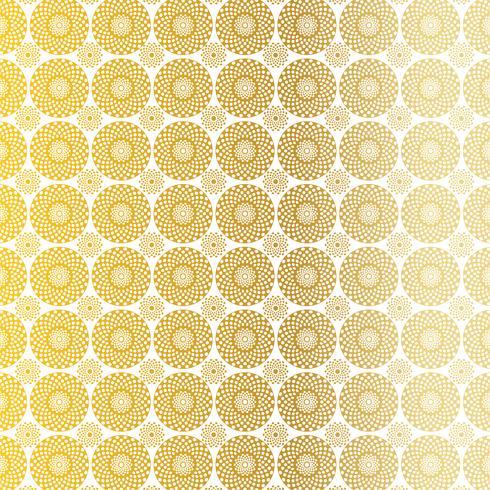 Goldweißes Kreis-Medaillonmuster vektor
