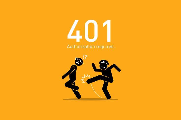 Webbplatsfel 401. vektor