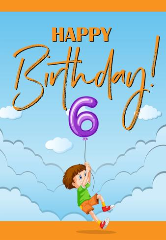 Födelsedag bil för sex år gammal pojke vektor