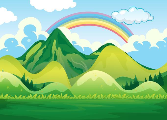 Naturlandschaft und Regenbogen vektor