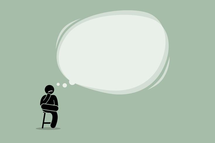 Tänkande man sitter på en stol med ett stort tomt bubbla moln. vektor