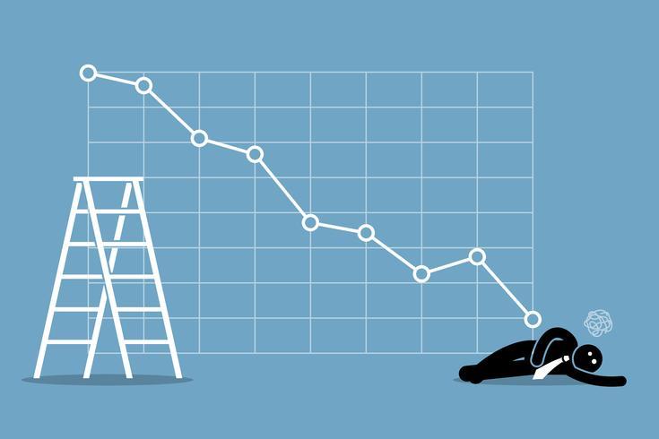 Der Geschäftsmann fiel auf dem Boden in Ohnmacht, als die Börse stark nachgab. vektor