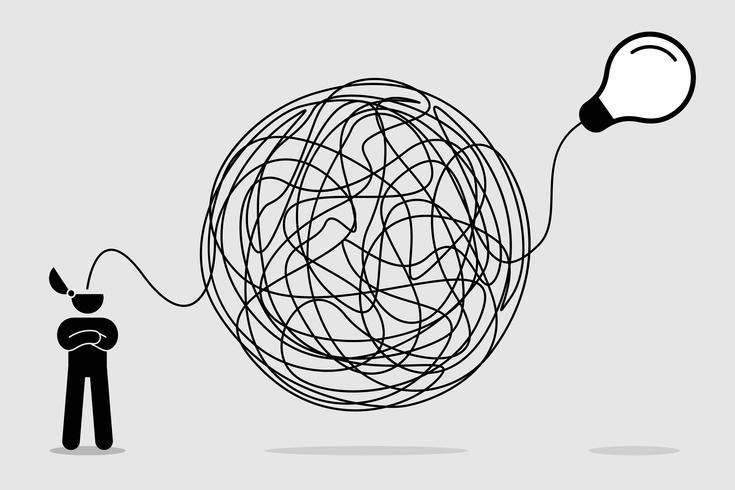 Man söker och tänker på idé genom ett komplicerat och kaotiskt sätt. vektor
