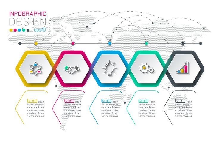Geschäftssechskantaufkleber formen Infografik-Gruppenleiste. vektor
