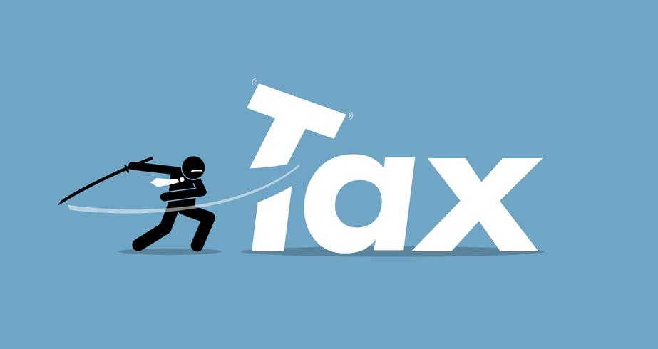 Steuersenkung durch den Geschäftsmann. vektor