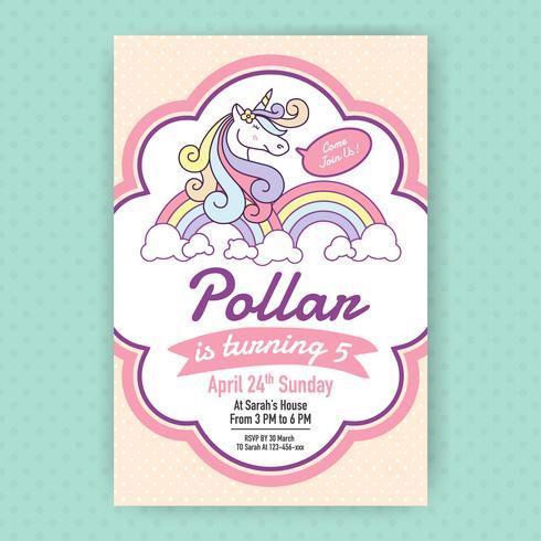 Gullig unicorn födelsedagsfest inbjudan illustration design. vektor