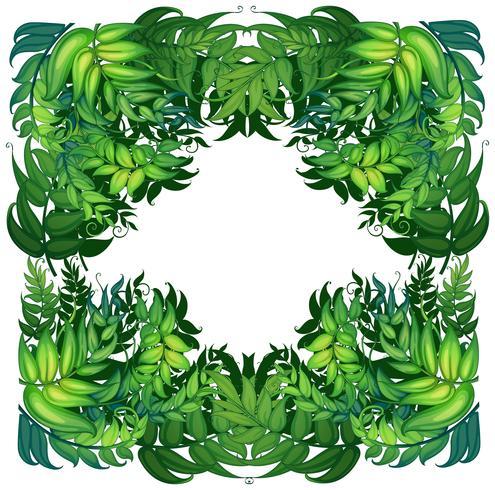 Grenzschablone mit grünen Blättern vektor