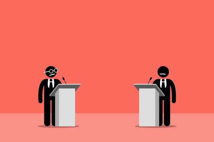 Politiker debattieren auf der Bühne. vektor