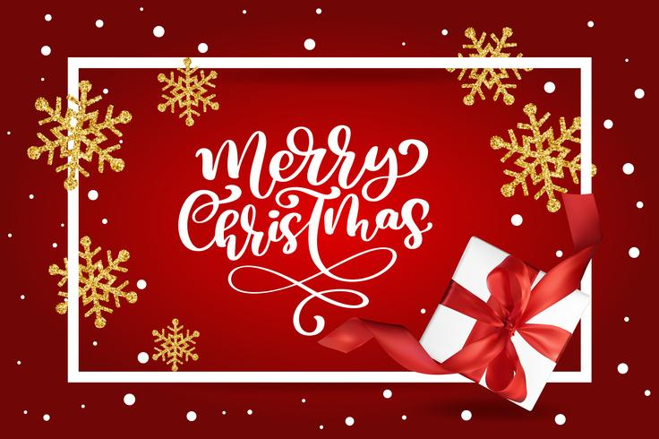 God julbokstäver, röd bakgrund vektor illustration, med en Mesh presentask och guld snöflingor. Julhälsningskort