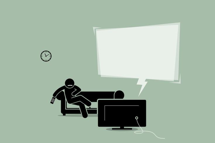 Mann, der fernsieht und auf einer Sofacouch sitzt. vektor