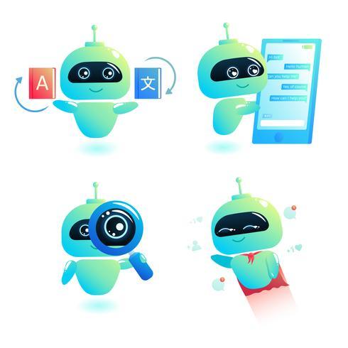 Chatbot set skriv svar på meddelanden i chatten. Bot-konsulten är gratis för att hjälpa användare i din telefon online. Vektor tecknad illustration