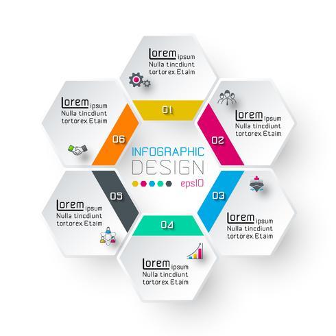 Hexagon inforgraphics på vektor grafisk konst.