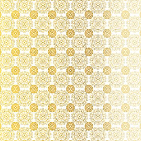 Goldweißes verziertes kreisförmiges Medaillonmuster vektor