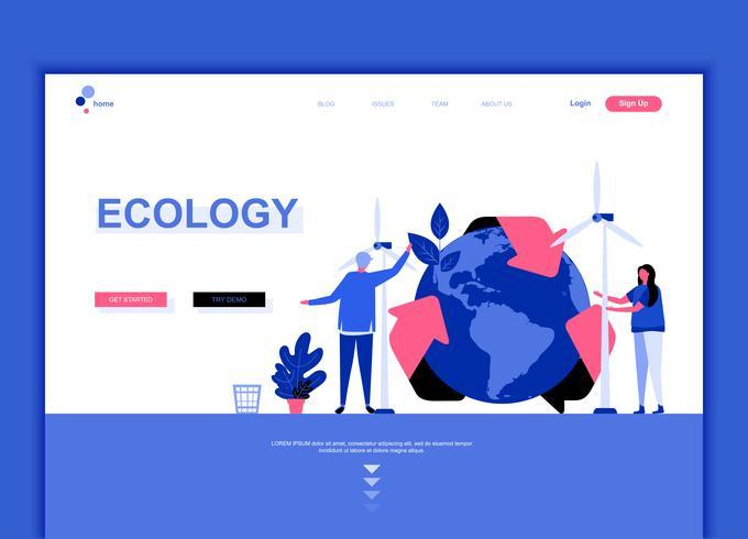 Modernes flaches Websitedesign-Schablonenkonzept der Ökologie-Erde vektor