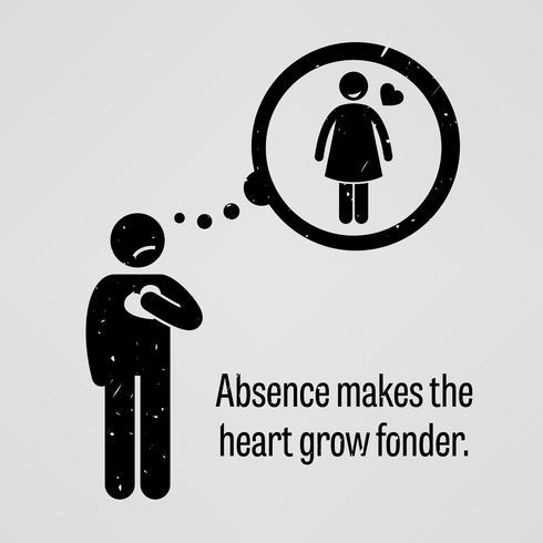 Abwesenheit lässt das Herz stärker werden. vektor