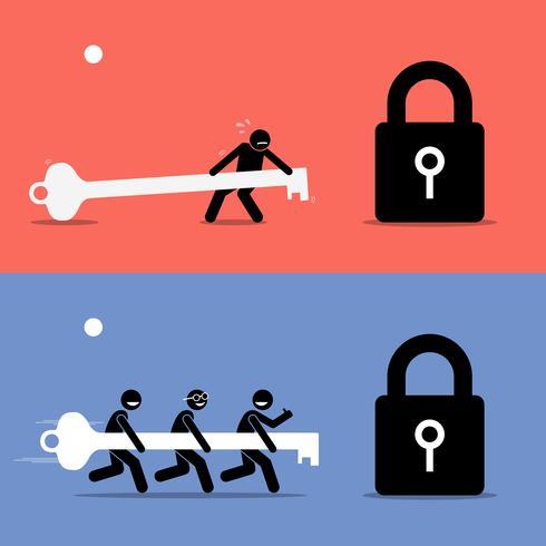 lagarbete vs att arbeta ensam. vektor