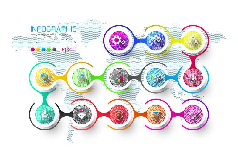 Geschäftsinfografik mit 13 Schritten. vektor