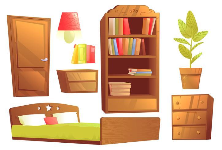 Moderna möbler för sovrumsinredning. Vektor tecknad film illustration uppsättning