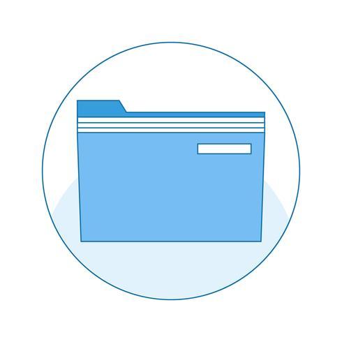 Symbol mit Ordner zum sicheren Speichern von Dokumenten und Dateien auf dem Computer. vektor