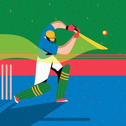 Schlagmann Cricket-Spieler-Aktion vektor