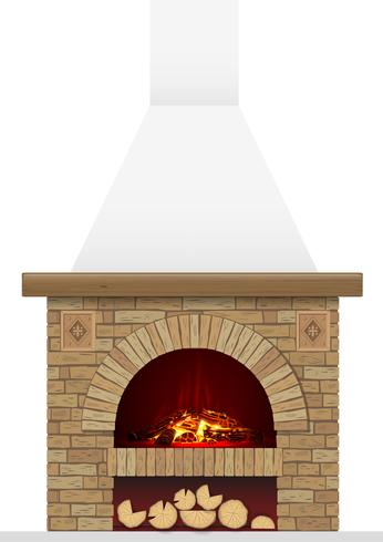 En gammal tegelhård med eld. Tegelbåge med öppen spis eller spis vektor