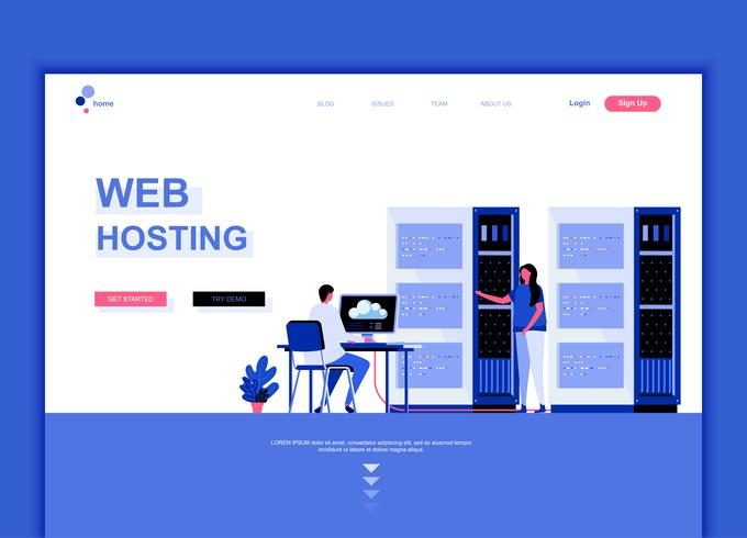 Modernes flaches Webseitendesign-Schablonenkonzept des Web-Hostings vektor