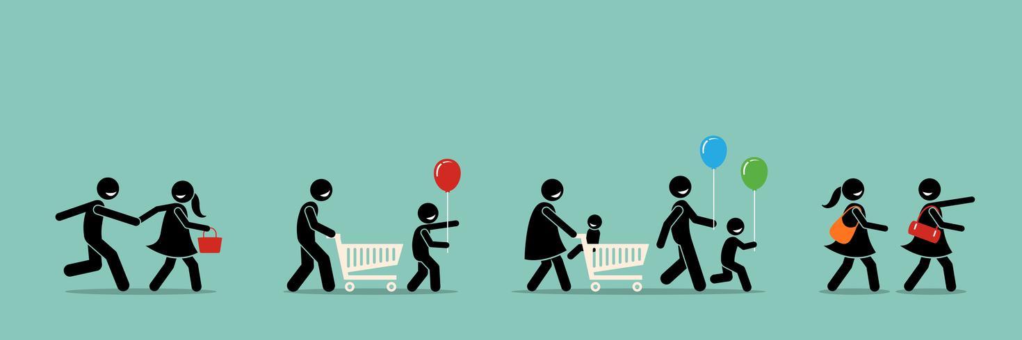 Lyckliga shoppare går till shoppingkarneval och evenemang. vektor