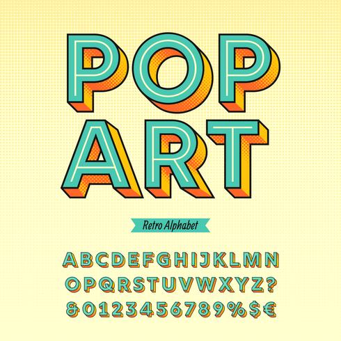 retro popkonst alfabet vektor