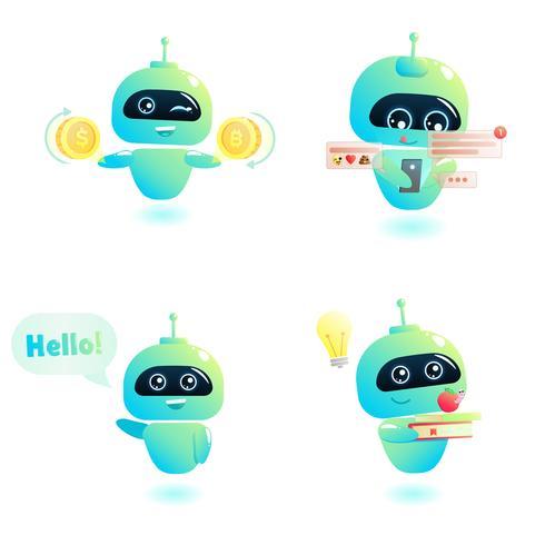 Söt bot teckenuppsättning. Chatbot hälsar. Online konsultation. Vektor tecknad illustration