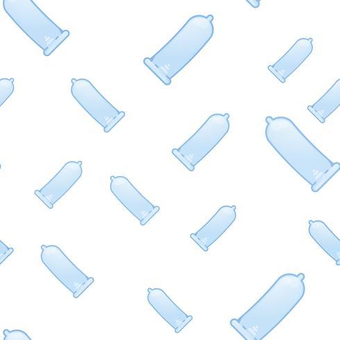 Sömlöst mönster med kondomer. Preskription, sexutbildning. Vektor platt illustration