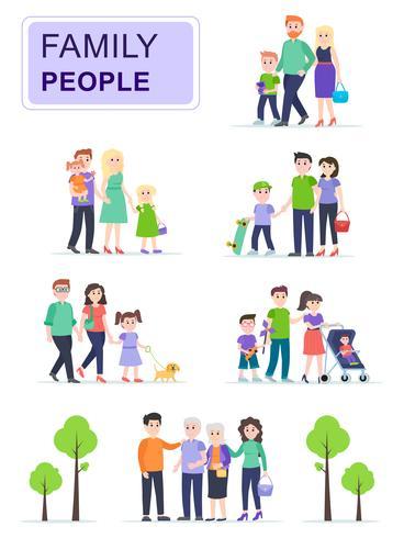 Set glückliche traditionelle Familien mit Kindern vektor