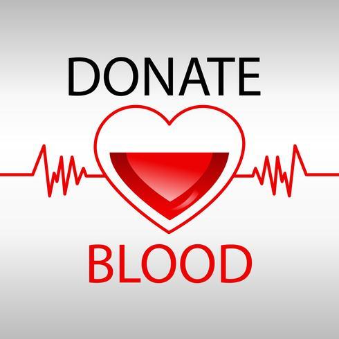 Bloddonationmedicin hjälper sjukhuset att rädda livets hjärta. Vektor realistisk illustration