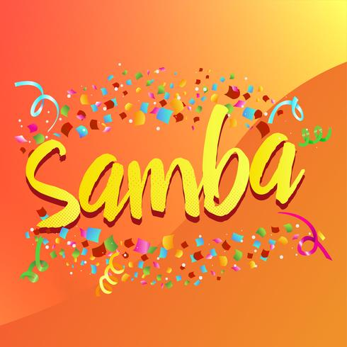"""Platzen von Konfetti um das Wort """"Samba"""" vektor"""