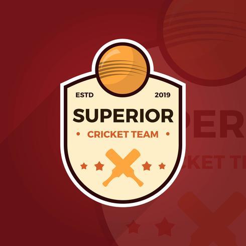 Flat Cricket Logo Badge Team Vector Mall