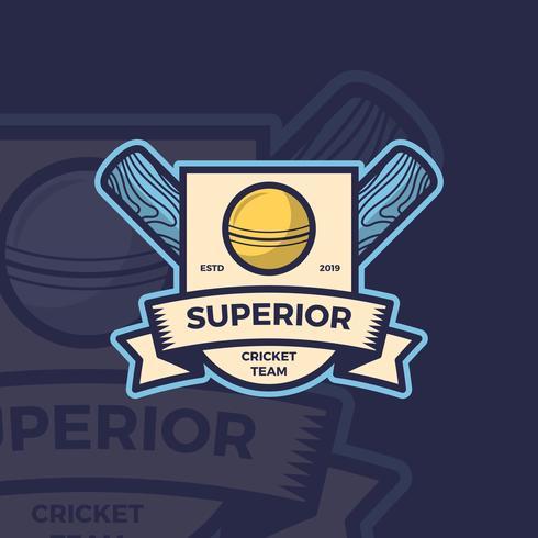 Flat Vintage Cricket Emblem Logo Vector Mall