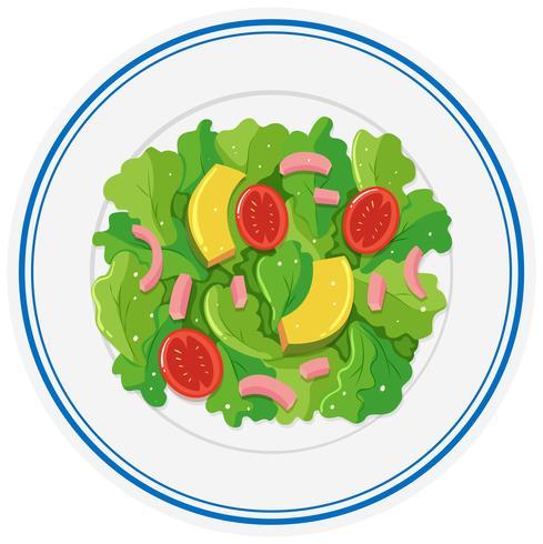 Frischer Salat auf runder Platte vektor